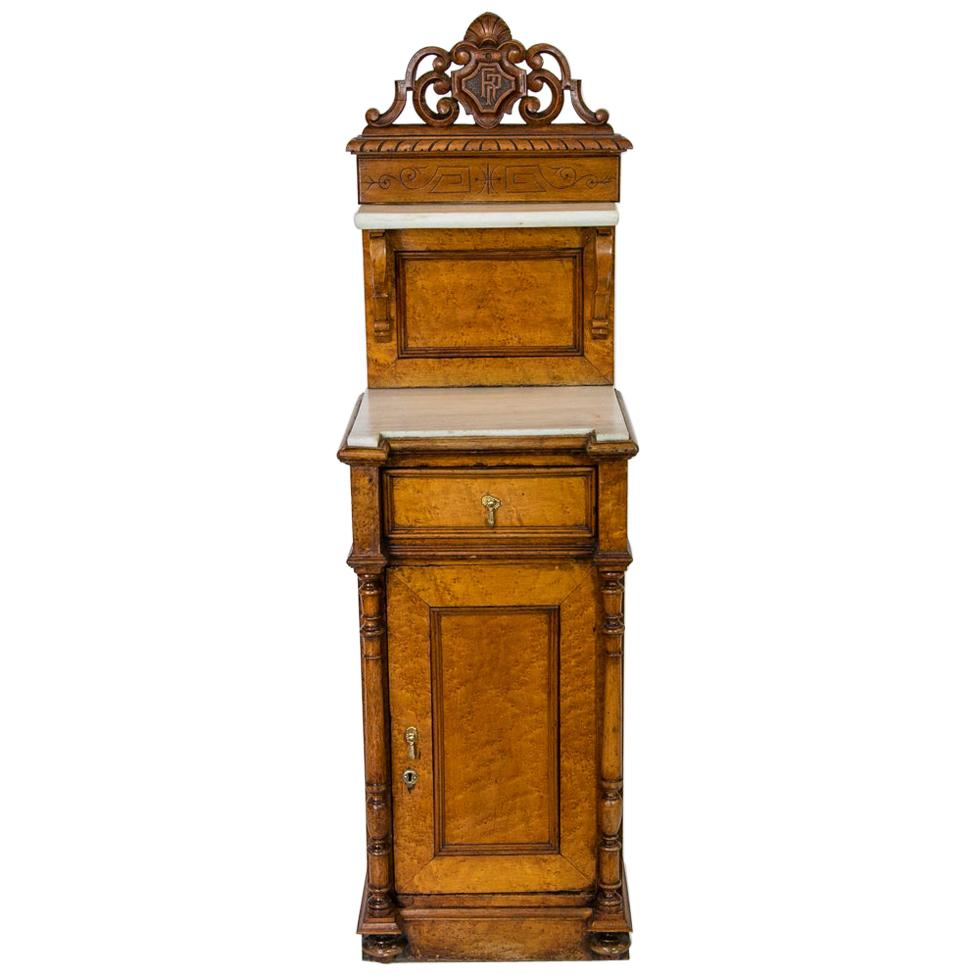 English Marble Top Nightstand Cabinet