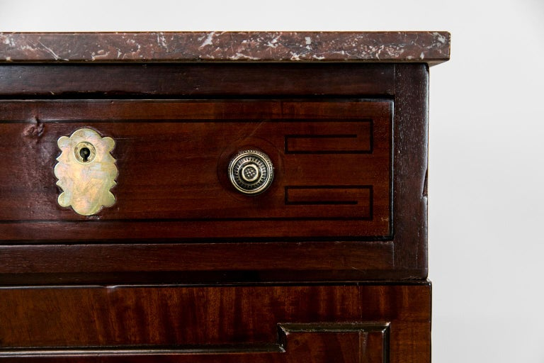 Inlay English Marble Top Silver Cabinet For Sale