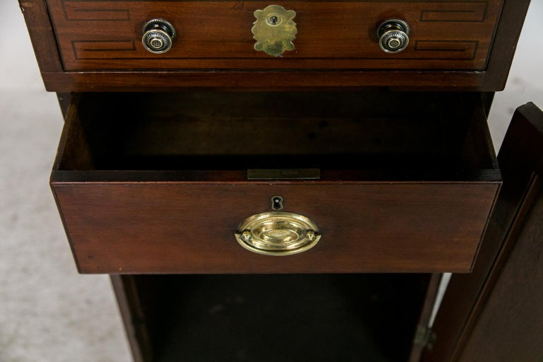 Mahogany English Marble Top Silver Cabinet For Sale