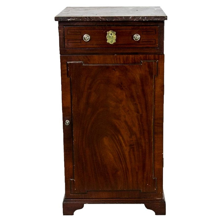 English Marble Top Silver Cabinet For Sale