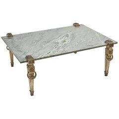 English Marble Topped Coffee Table with Silver Plated Legs, circa 1950