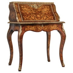 English Marquetry Inlaid Bureau De Dame