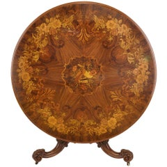 English Marquetry Round Centre Table, 19th Century