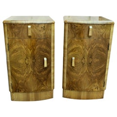 English Matching Pair of Art Deco Walnut Bedside Cabinet Tables, circa 1935