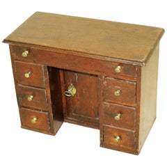 English Mid-18th Century Miniature Oak Kneehole Desk