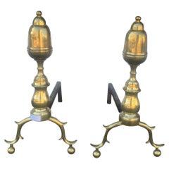 English Mid-19th Century Brass Acorn Top Andirons
