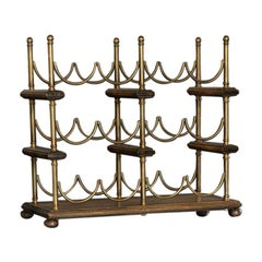 English Mid-19th Century Brass and Mahogany Table Top Wine Rack