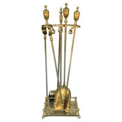 English Mid-19th Century Brass Fire Tools with Stand