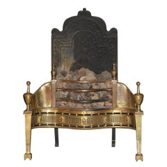 English Mid-19th Century Cast Iron and Brass Fireplace Insert