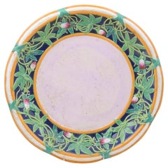 English Mid 19th Century Minton Majolica Platter with Floral Motifs