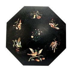 English Mid-19th Century Octagonal Ashford Black Marble and Inlaid Table Top