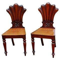 English Mid 19th Century Pair of Hall Chairs, Carved Mahogany, Shell and Flowers