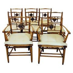 English Mid-19th Century Set of Eight Sussex Elm Rush Seated Dining Chairs