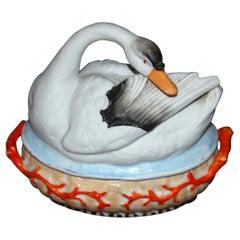 English Mid 19th Century Staffordshire Swan on Basket