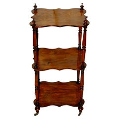English Mid 19th Century Three Tier Rosewood Etagere with Serpentine Shaping