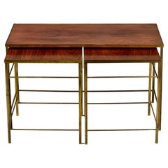 English Mid Century Brass and Wood Trio of Stacking Tables