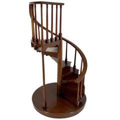 English Midcentury Miniature Staircase Model in Mahogany