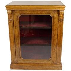 English Mid-Victorian Glazed Walnut Pier Cabinet