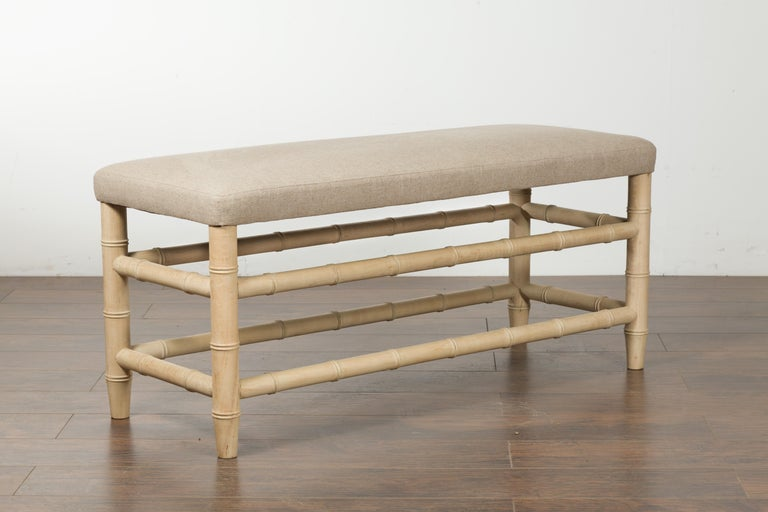 English Midcentury Bleached Walnut Faux Bamboo Bench with New Upholstery For Sale 5