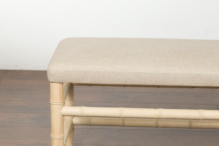 Mid-Century Modern English Midcentury Bleached Walnut Faux Bamboo Bench with New Upholstery For Sale