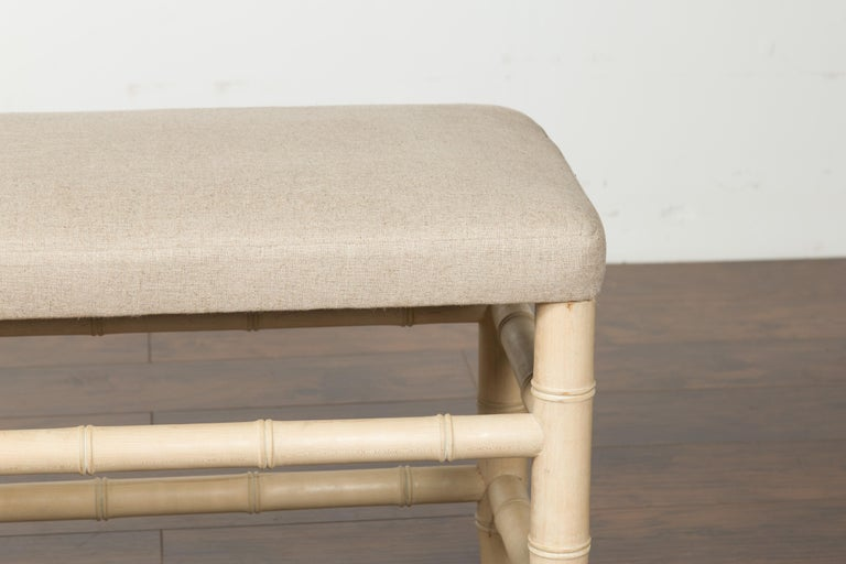 English Midcentury Bleached Walnut Faux Bamboo Bench with New Upholstery In Good Condition For Sale In Atlanta, GA