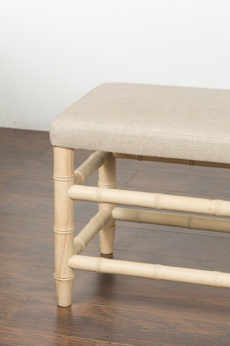 20th Century English Midcentury Bleached Walnut Faux Bamboo Bench with New Upholstery For Sale