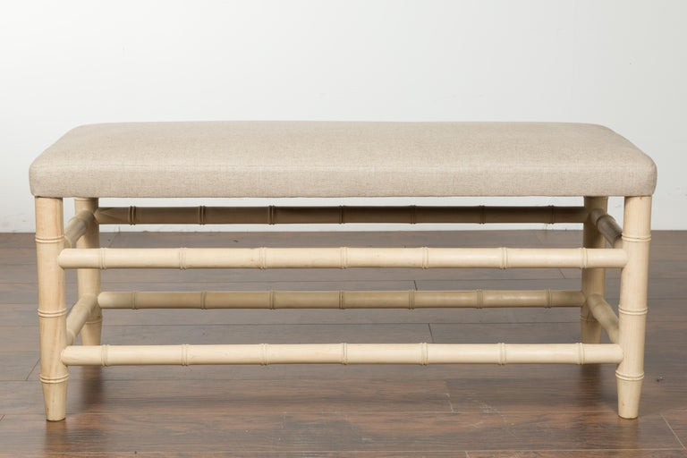 English Midcentury Bleached Walnut Faux Bamboo Bench with New Upholstery For Sale 2