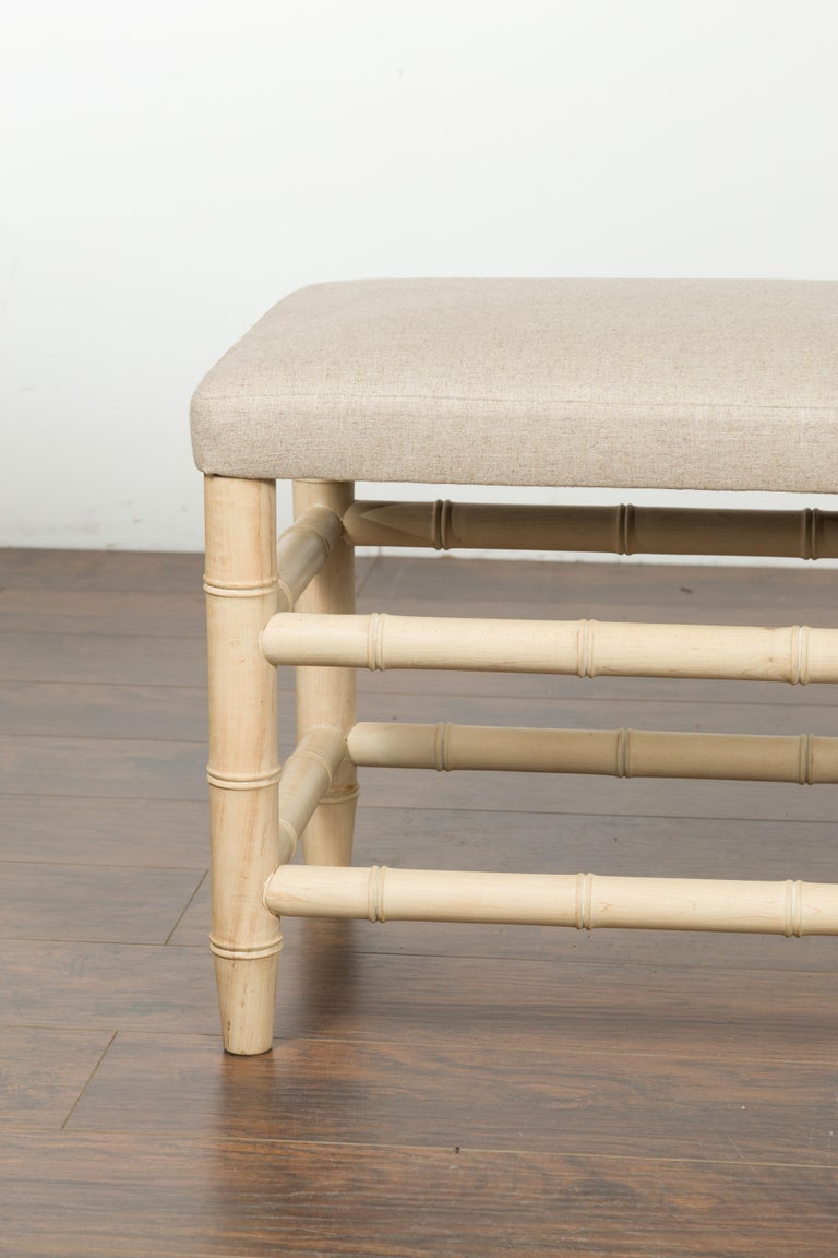 English Midcentury Bleached Walnut Faux Bamboo Bench with New Upholstery For Sale 3