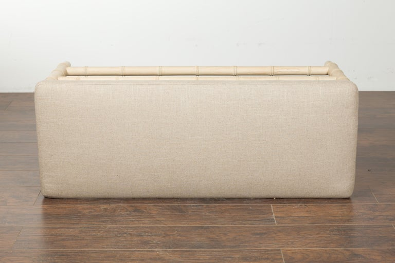 English Midcentury Bleached Walnut Faux Bamboo Bench with New Upholstery For Sale 4