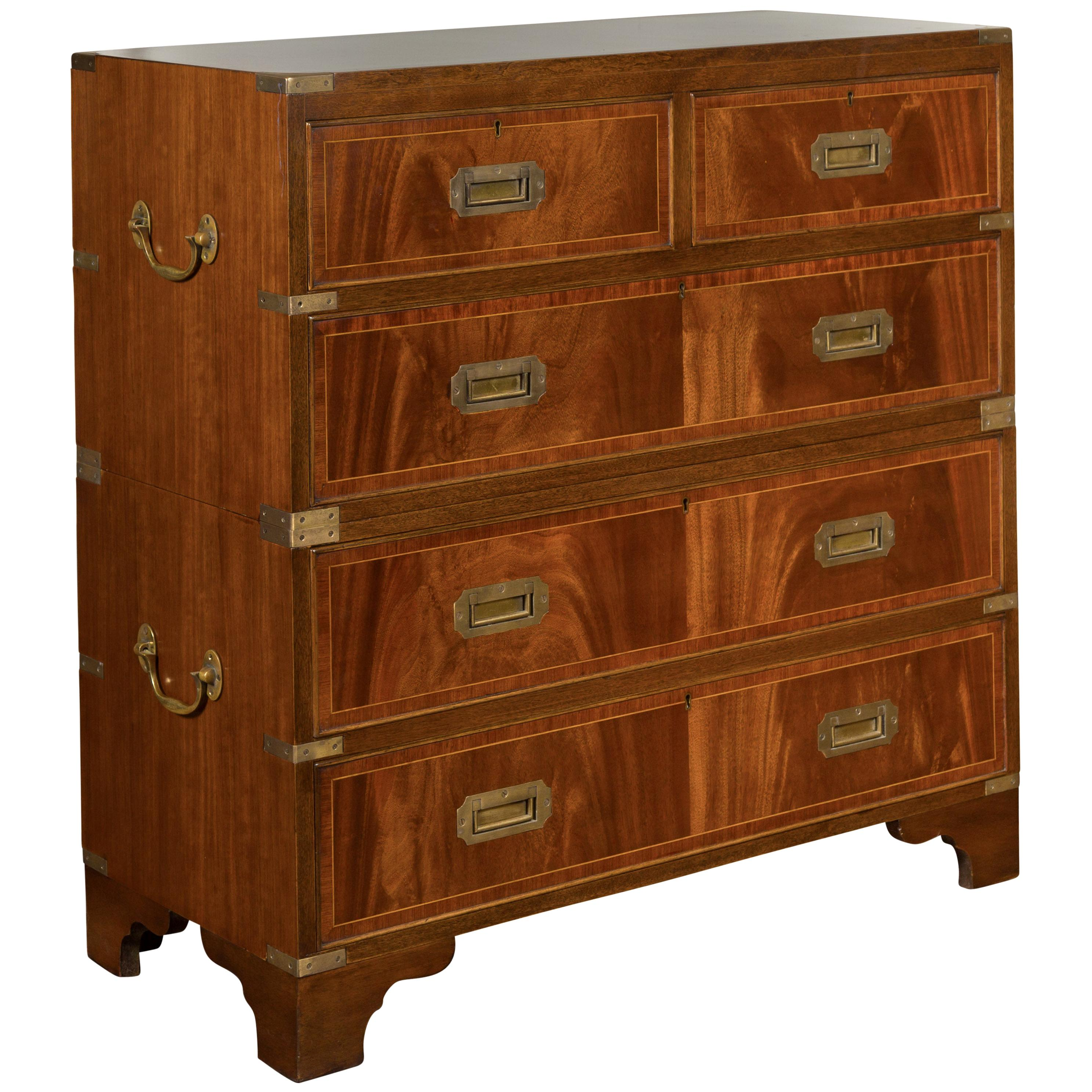 English Midcentury Campaign Five-Drawer Chest with Brass Hardware and Banding