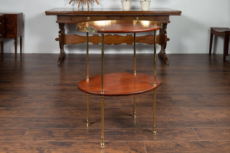 Mid-Century Modern English Midcentury Mahogany Oval Two-Tiered Table with Brass Accents For Sale