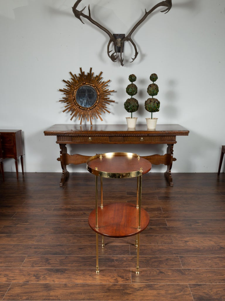 20th Century English Midcentury Mahogany Oval Two-Tiered Table with Brass Accents For Sale