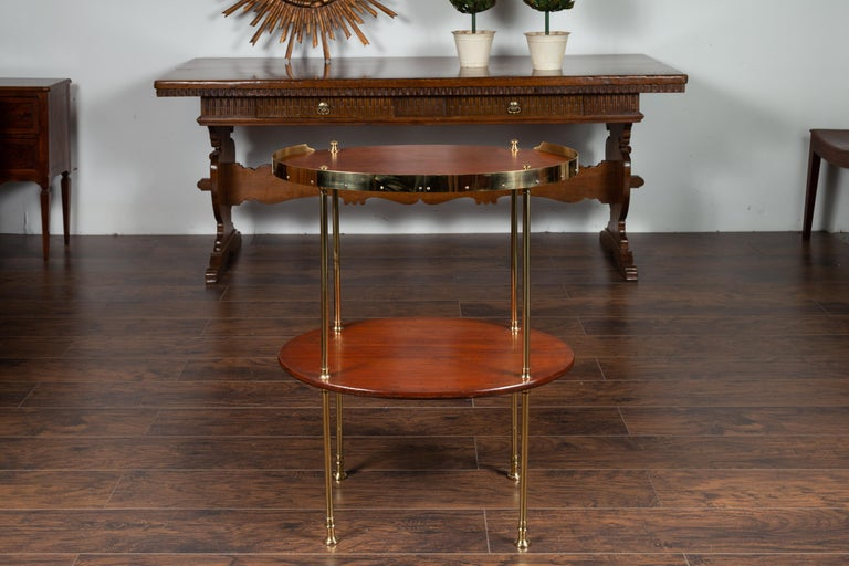 English Midcentury Mahogany Oval Two-Tiered Table with Brass Accents For Sale 1