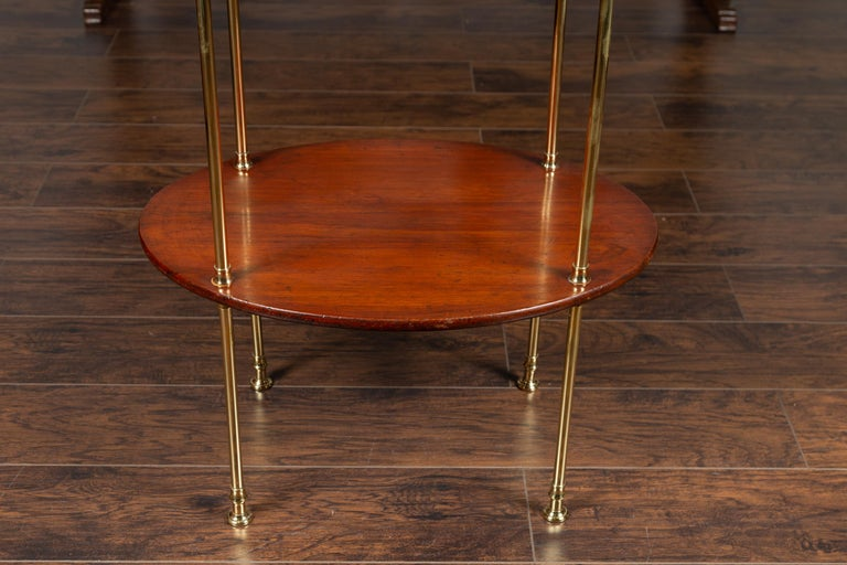English Midcentury Mahogany Oval Two-Tiered Table with Brass Accents For Sale 4