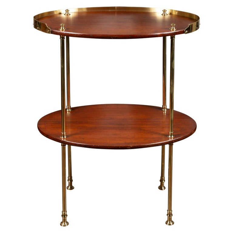 English Midcentury Mahogany Oval Two-Tiered Table with Brass Accents For Sale