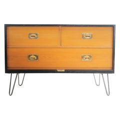 English Midcentury Military Travel Trunk Chest of Drawers, 1950s
