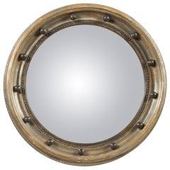 English Midcentury Silver Leaf Carved Convex Bullseye Mirror with Dark Spheres
