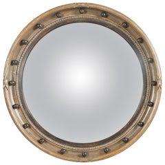 English Midcentury Silver Leaf Convex Bullseye Mirror with Petite Spheres