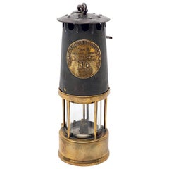 English Miner's Safety Lantern or Lamp of Brass and Steel