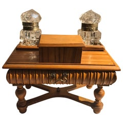 English Miniature Desk Motif Double Inkwell Box