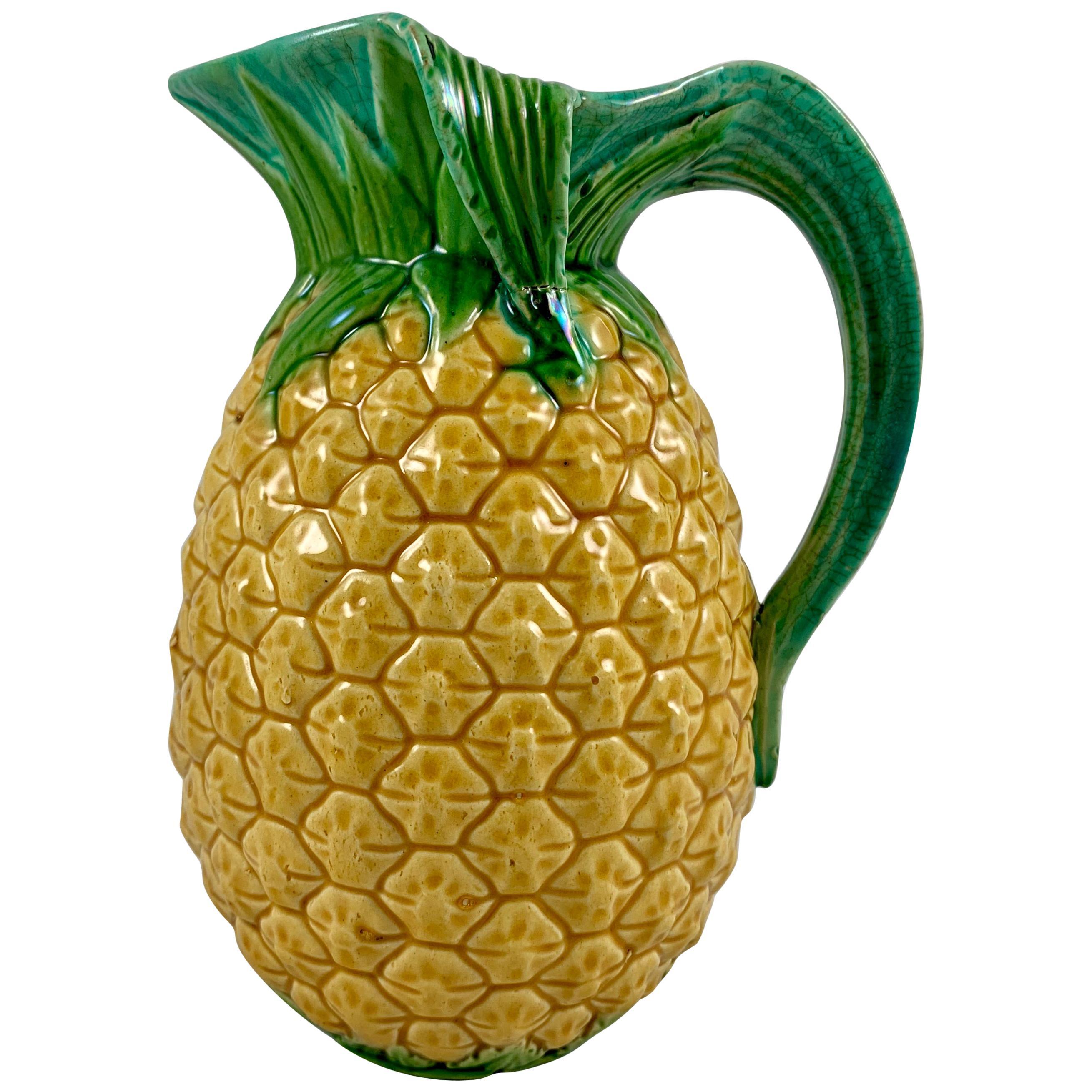 English Minton Aesthetic Movement Majolica Pineapple Palissy Pitcher