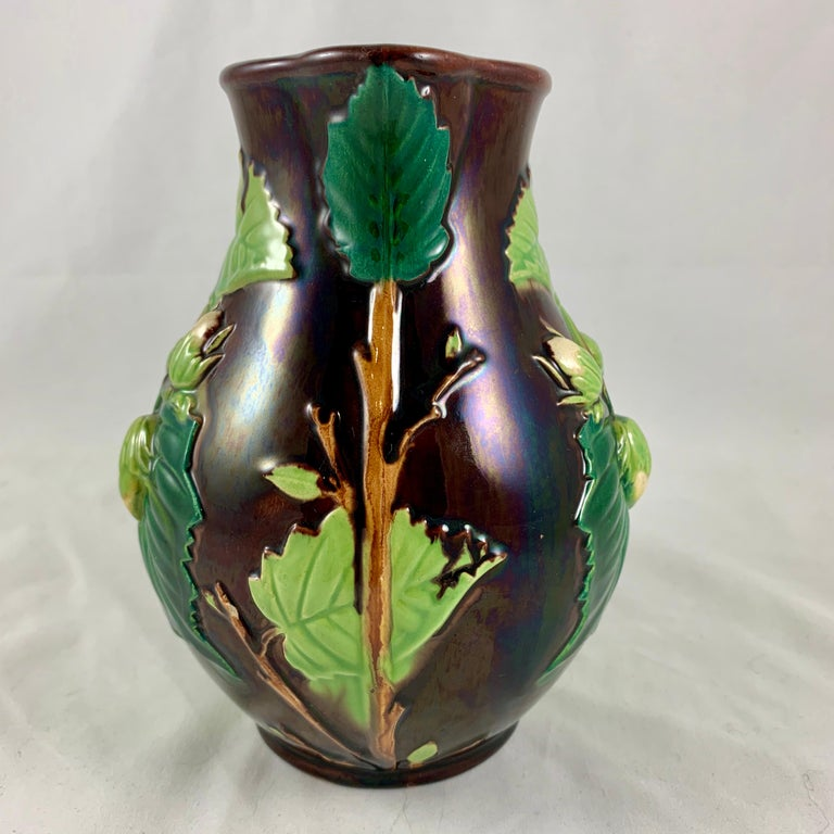 English Minton Aesthetic Movement Majolica Nut, Green Leaf and Vine Pitcher For Sale 5