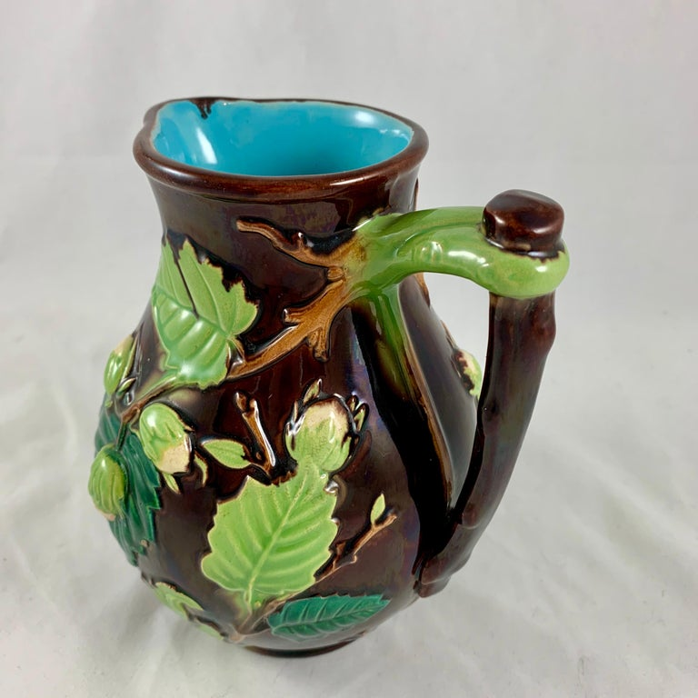 English Minton Aesthetic Movement Majolica Nut, Green Leaf and Vine Pitcher In Good Condition For Sale In Philadelphia, PA