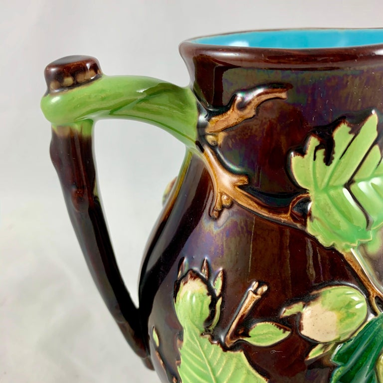 Earthenware English Minton Aesthetic Movement Majolica Nut, Green Leaf and Vine Pitcher For Sale