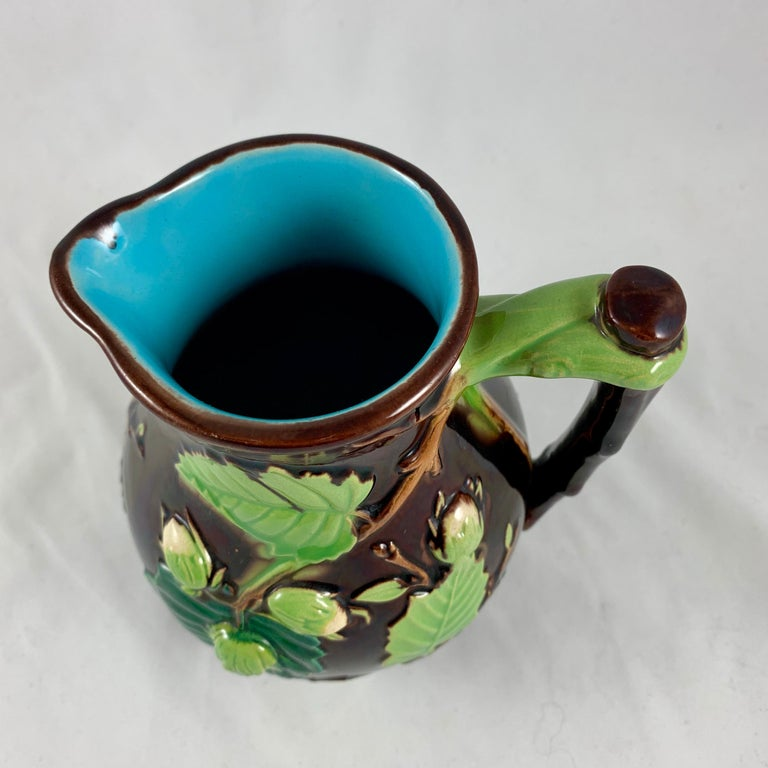English Minton Aesthetic Movement Majolica Nut, Green Leaf and Vine Pitcher For Sale 2