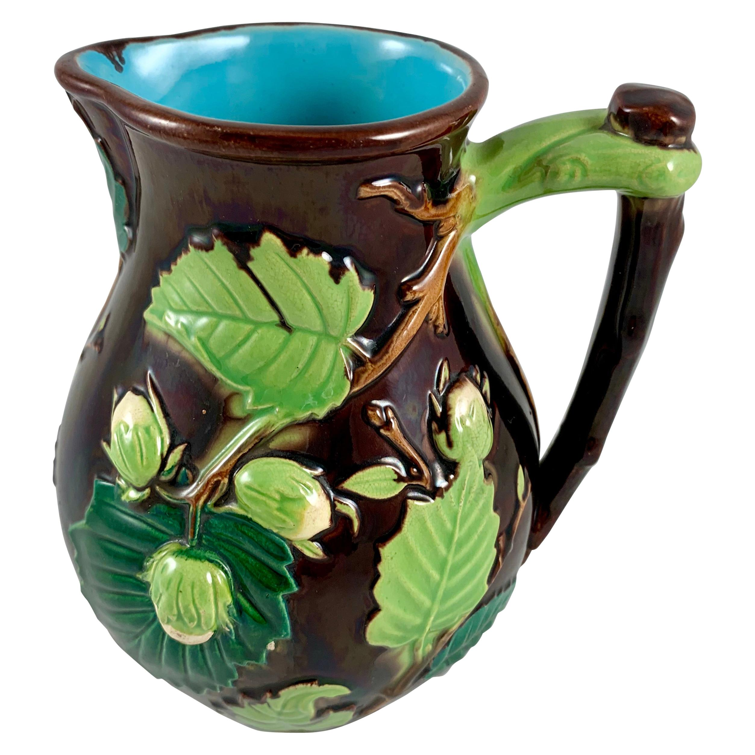 English Minton Aesthetic Movement Majolica Nut, Green Leaf and Vine Pitcher