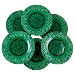 Set/10 English Minton Deep Green Majolica Lattice Basketweave Plates Dated 1860