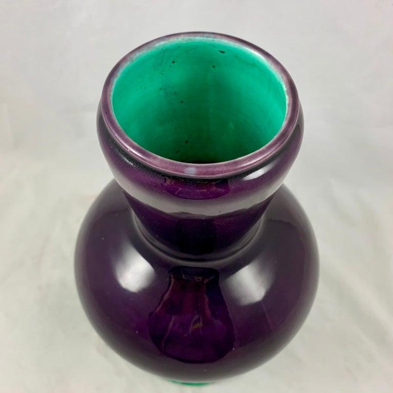 English Minton Japonisme Aesthetic Movement Majolica Aubergine Eggplant Vase For Sale 4