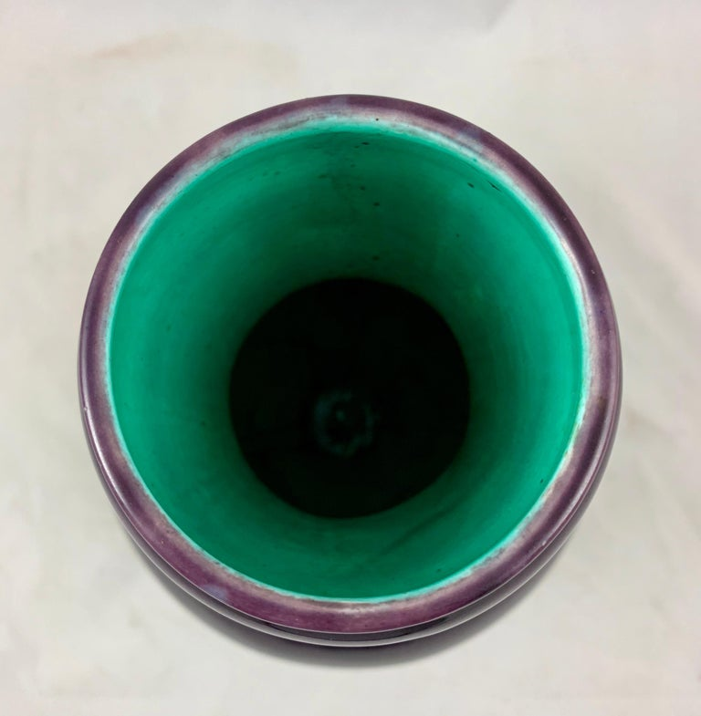 English Minton Japonisme Aesthetic Movement Majolica Aubergine Eggplant Vase For Sale 5