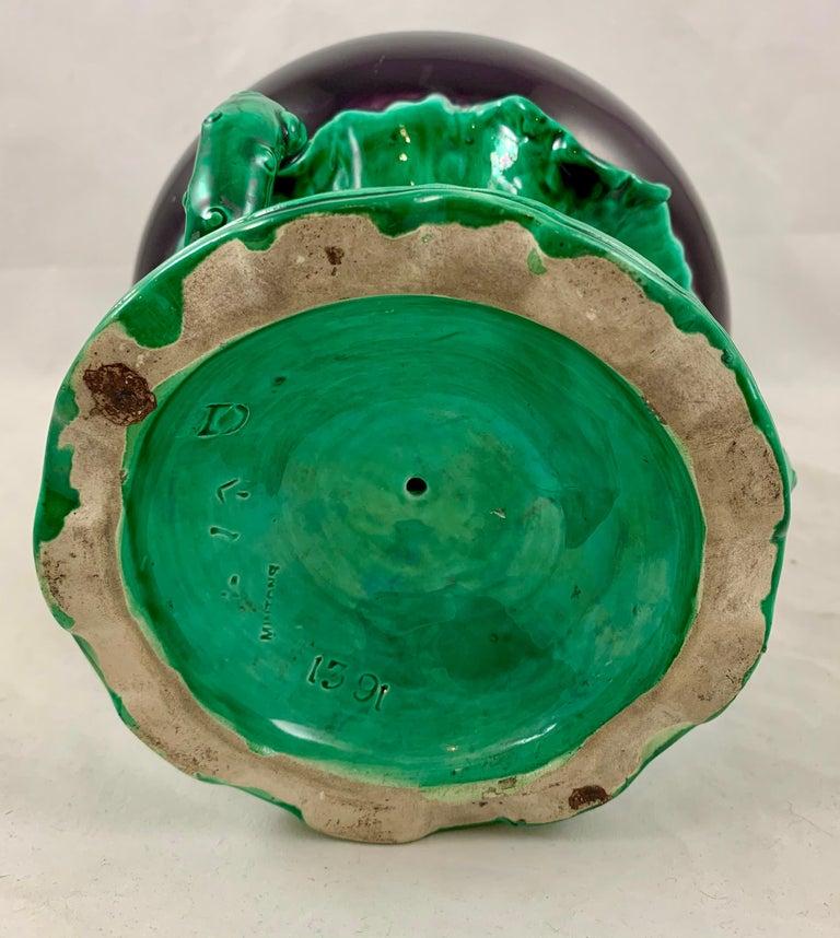 English Minton Japonisme Aesthetic Movement Majolica Aubergine Eggplant Vase For Sale 6